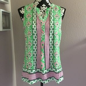 CROWN & IVY Green Pink Tank Blouse Top Small NWT